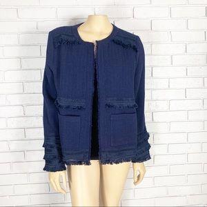 Anthropologie Women's Audrey Fringed Linen Jacket